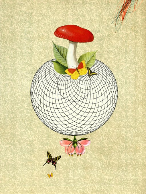 wonderful world i - art print with mushroom