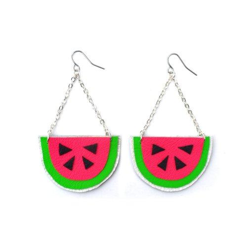 Watermelon_Earrings__Hot_Pink_Earrings__Fruit_Earrings__Pop_Art_Earrings__Leather_Earrings