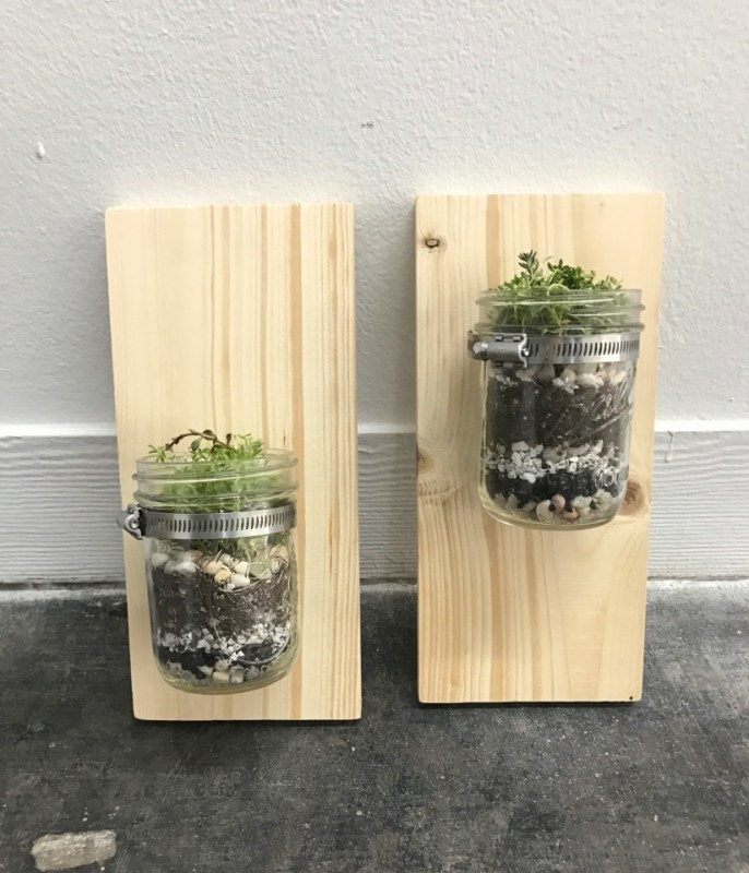 finished set of wall mounted mason jar planters pop shop america diy