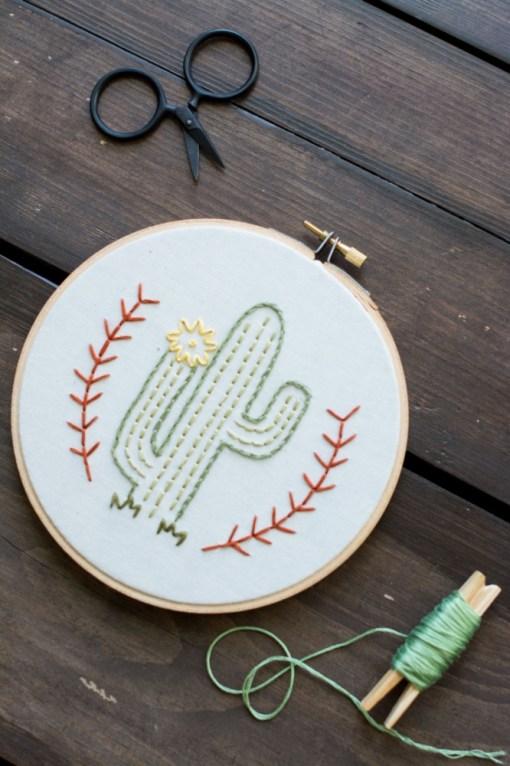 flowering cactus embroidery hoop art pop shop america