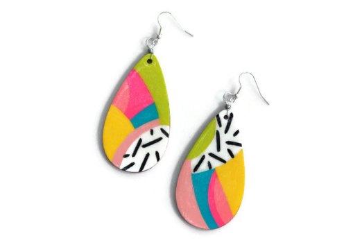 abstract rainbow teardop shaped earrings