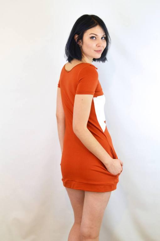back of cotton fox dress - orange mini dress