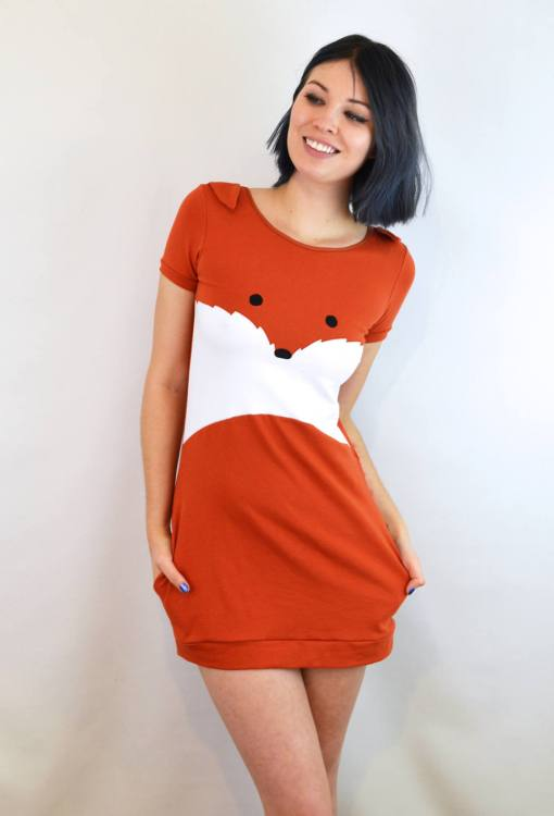 front of fox dress - orange and white mini dress with fox face