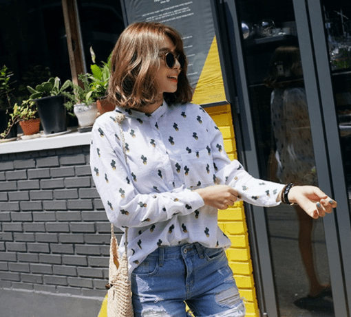 lifestyle cropped collar cactus button up