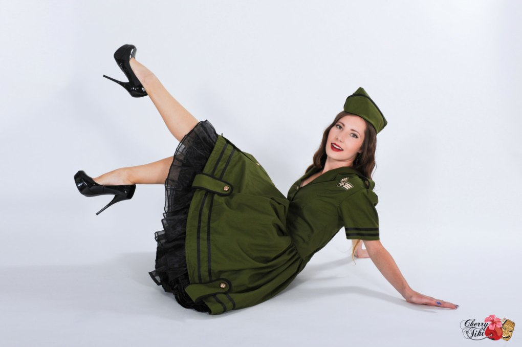 army military pinup girl handmade costume by cherry tiki