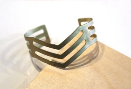 triple arrow chevron brass bangle bracelet_web