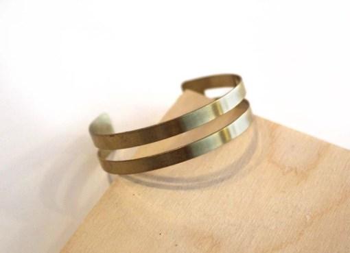 small geometric lines brass bracelet - handmade jewelry pop shop america_wen