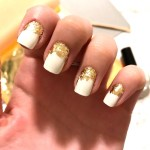 Clear Pink Nails With Gold Flakes Nail And Manicure Trends