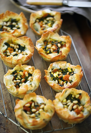 filo_tarts with spinach and pumpkin