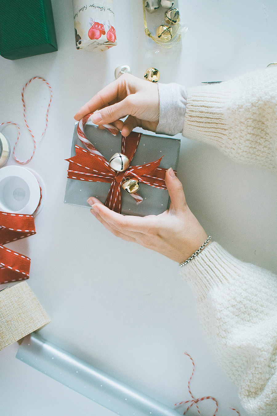 3 Last Minute DIY Gift Wrapping Ideas: Bells and Candy Cane