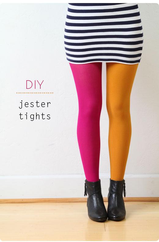 diy color blocked tights pop shop america