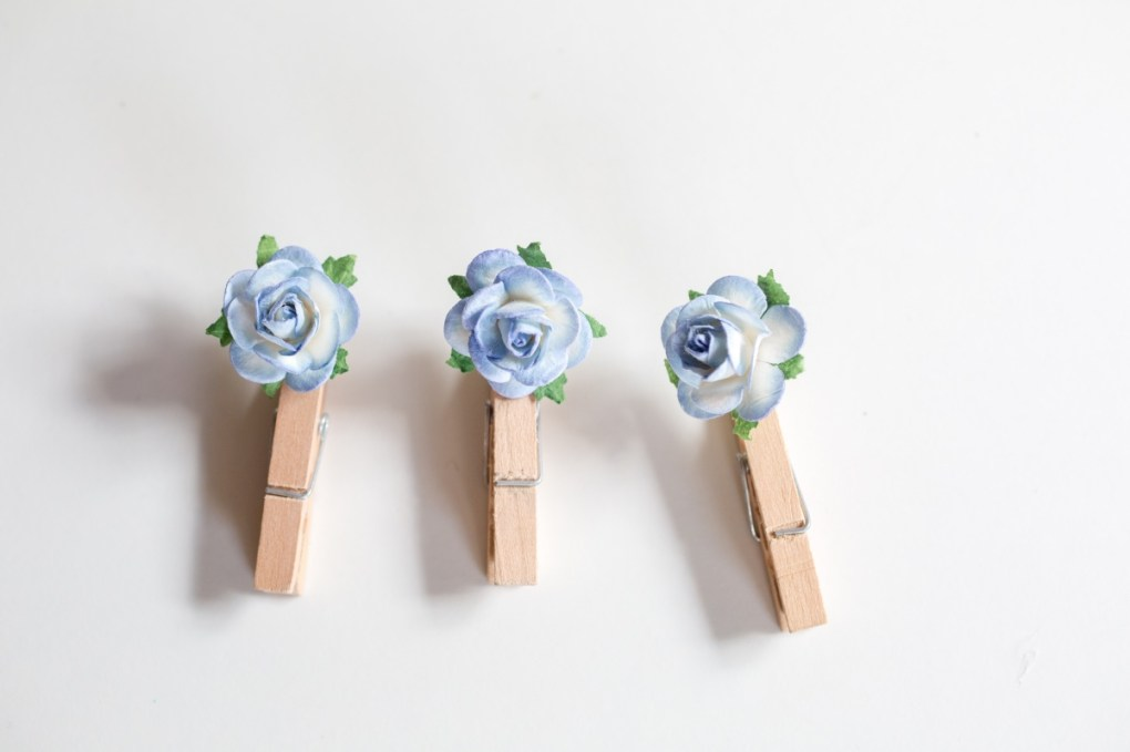 detail pretty paper flower clothespins craft tutorial