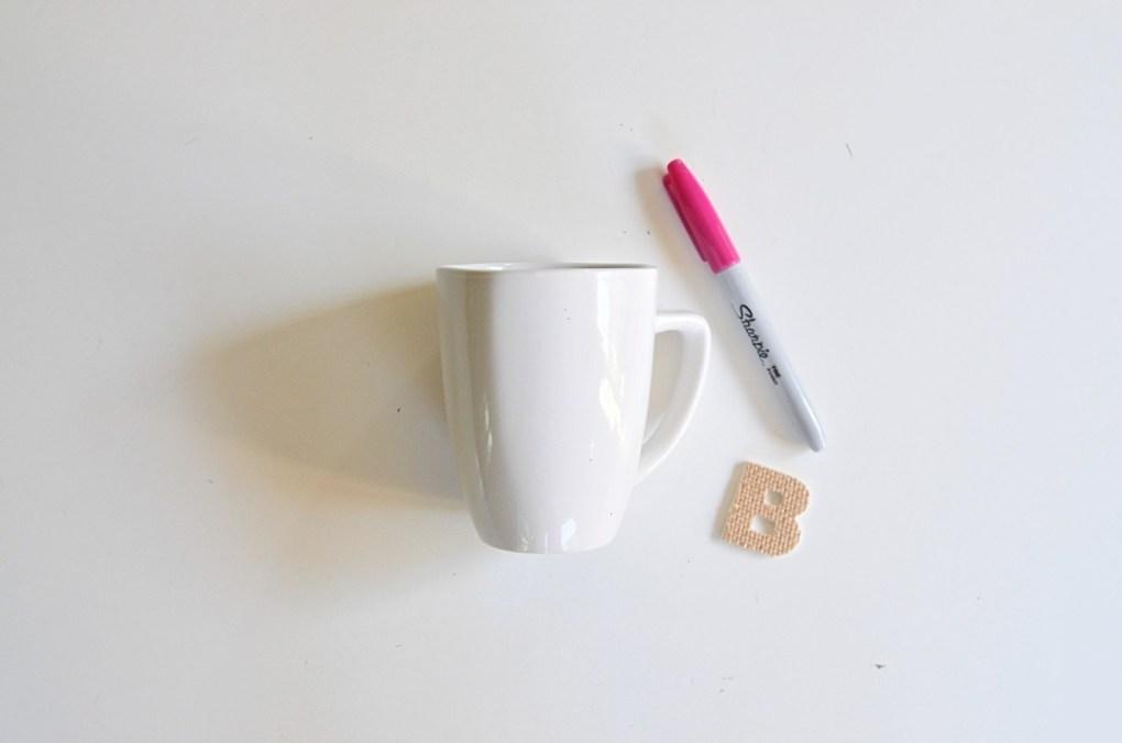 make a diy sharpie monogrammed mug