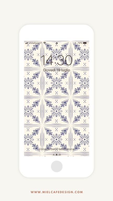 Vintage Tiles Phone Wallpaper Navy Blue Free Download