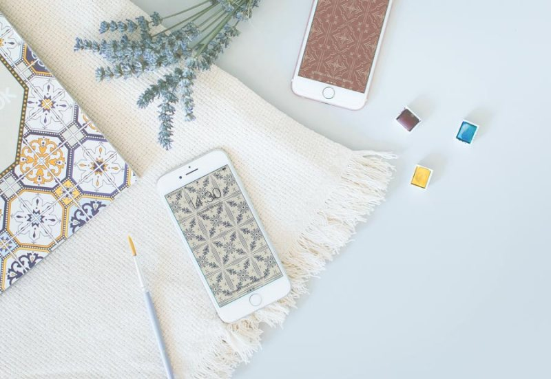 Vintage Tiles Phone Wallpapers Free Download Illustrated by Miel Café Design