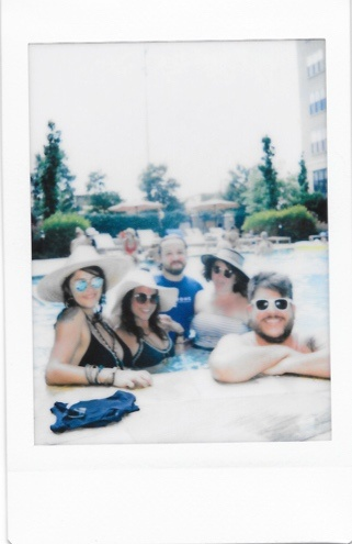 polaroid of friends at pool - instax mini 9 blogging tool