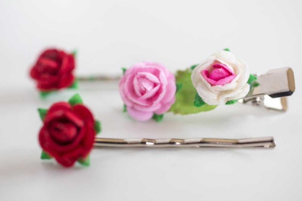 finished teeny tiny diy flower hair barrettes and hair clips