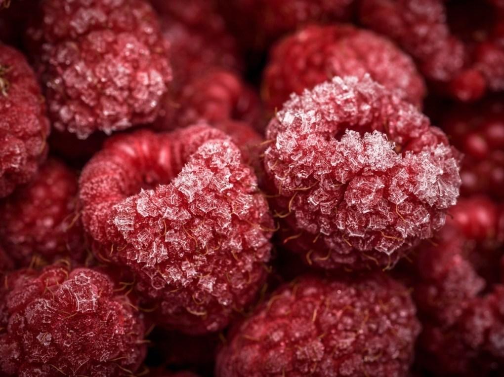 frozen raspberries for coconut ice cream parfait