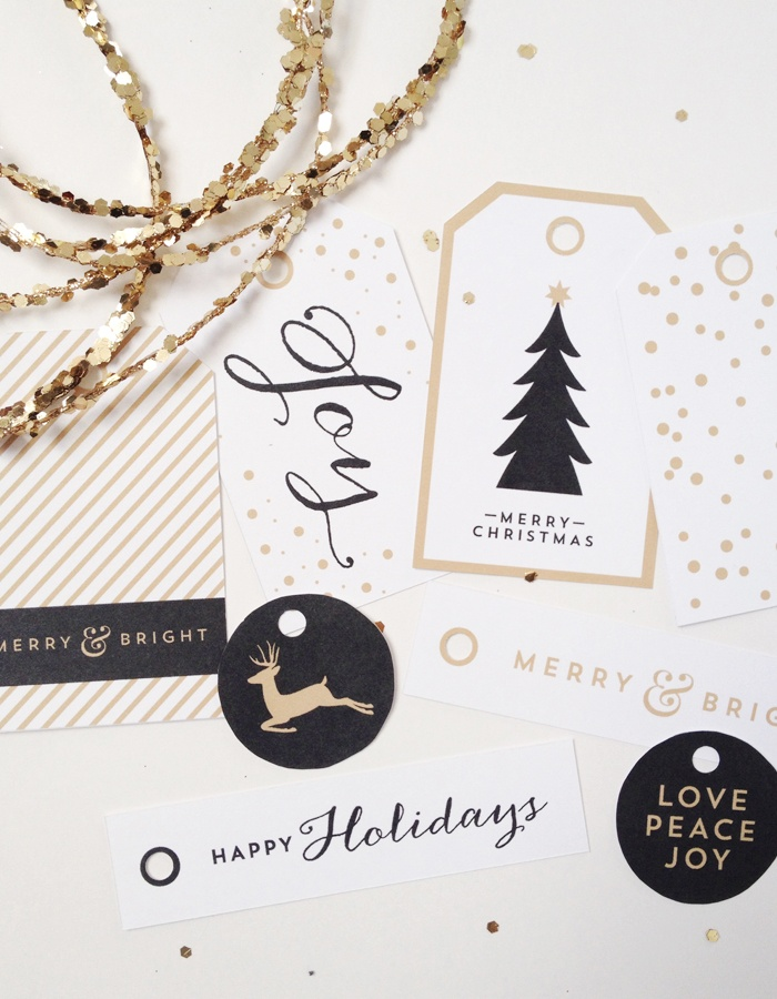 black and gold holiday gift tags