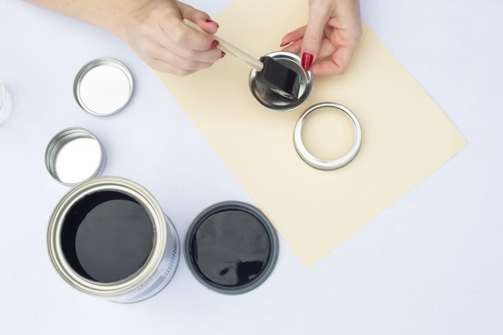 brush the chalkboard paint directly on the mason jars