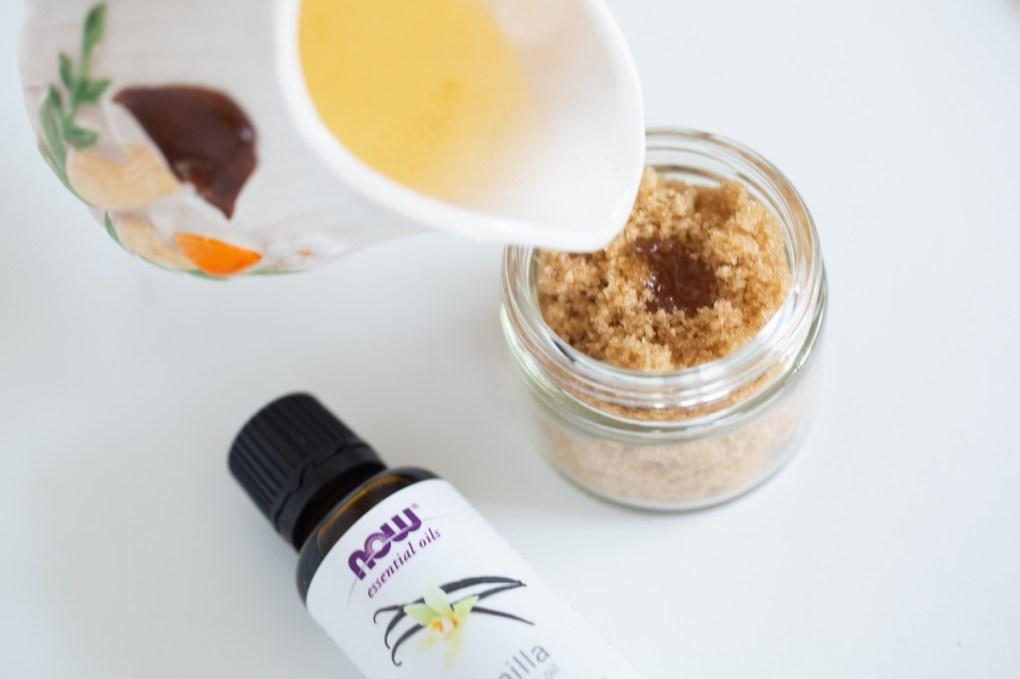 moisten with a touch of avocado oil - diy brown sugar scrub