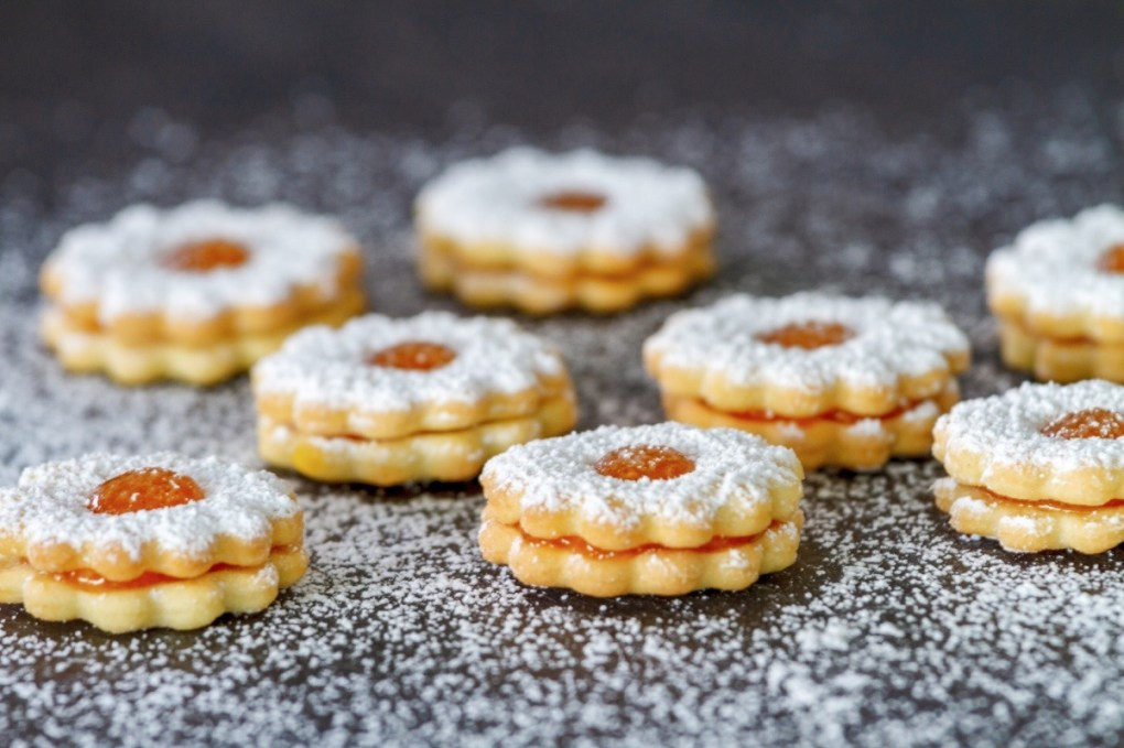 detail of finished apricot linzer cookies pop shop america