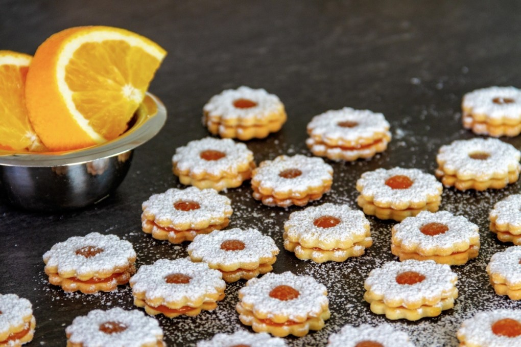 finished apricot linzer cookies recipe pop shop america
