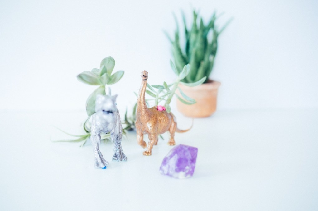 finished dinosaur planter diy craft in style subscription box pop shop america