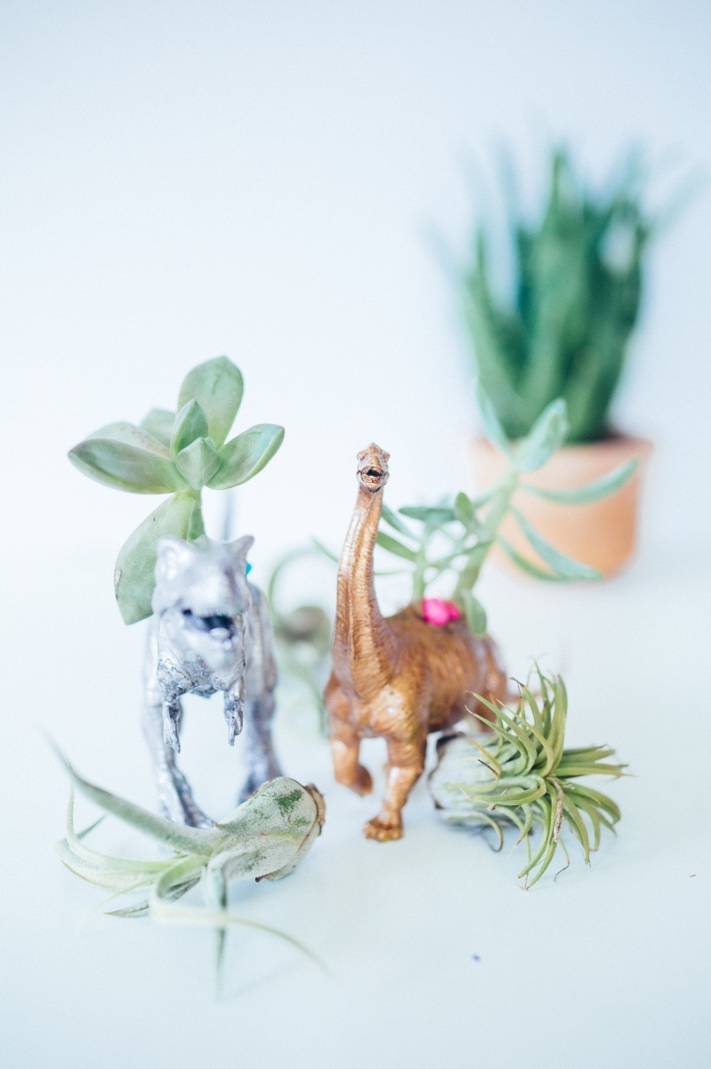 finished gilded dinosaur planter diy pop shop america