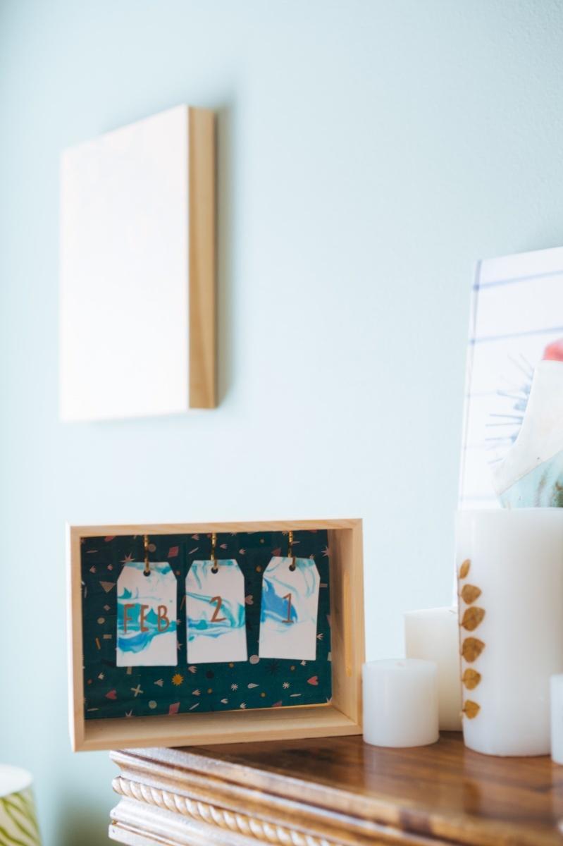 Diy Wood Desk Calendar With Marbled Paper