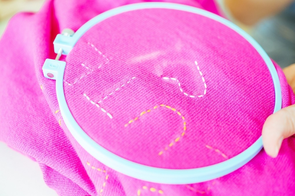 stitching a heart embroidered sweater tutorial