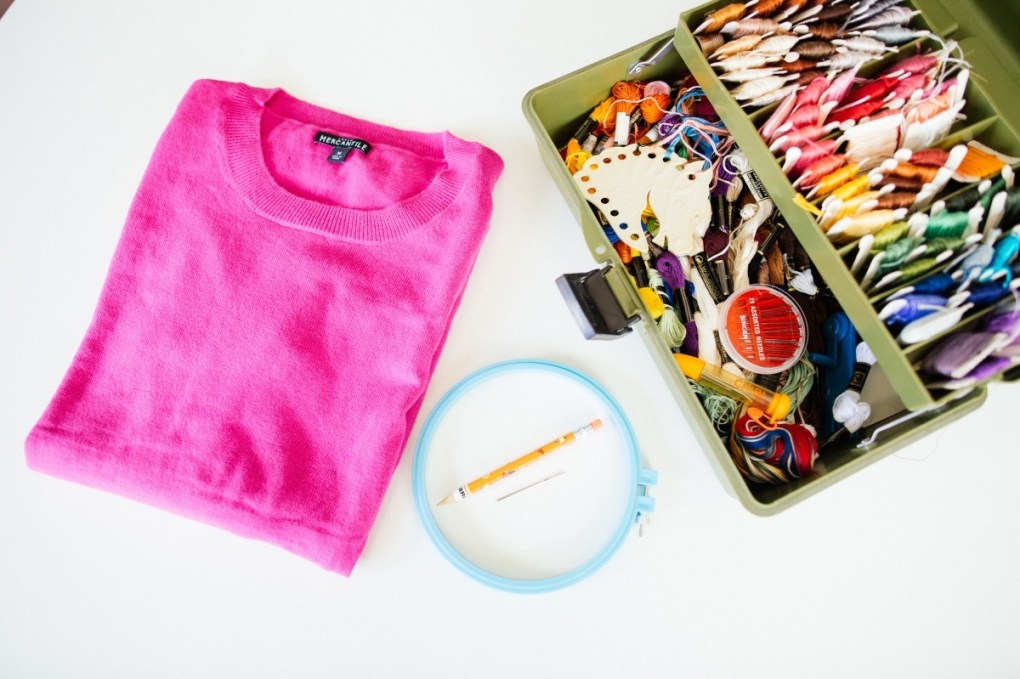 supplies to make a diy embroidered sweater