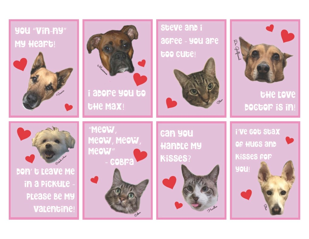 Valentine Cards Printable with Animals by Pop Shop America