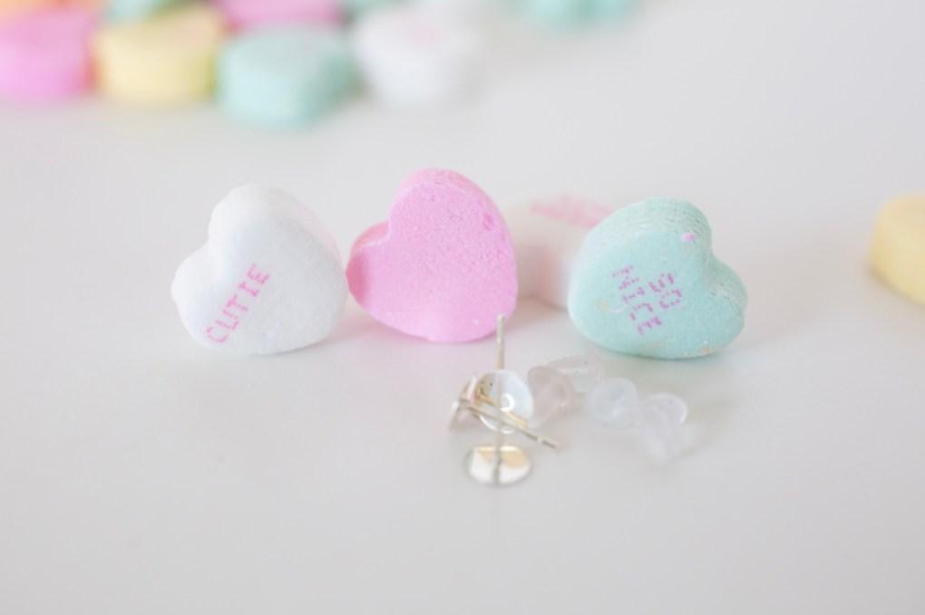 close up conversation heart valentine's earrings diy