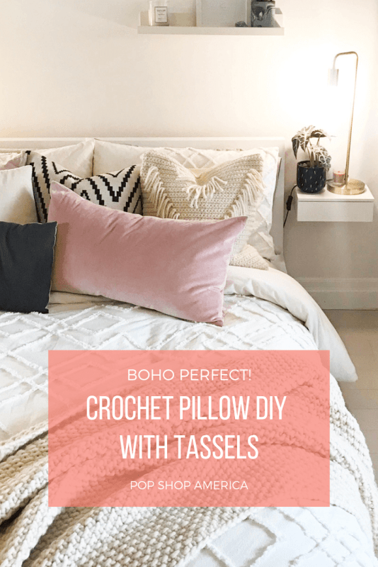 crochet pillow diy with tassels