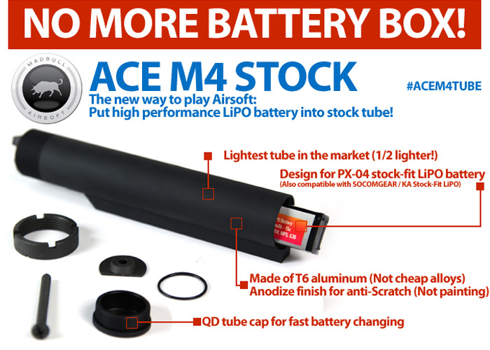 MadBull LiPO_Ready M4 ACE Rifle Tube