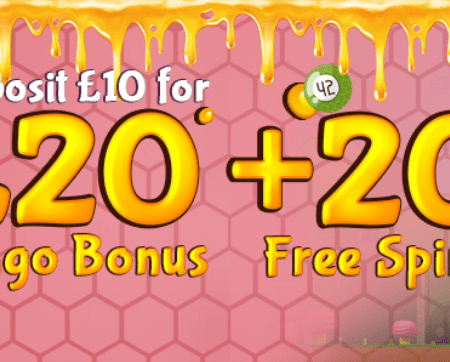 Get 20 free spins on Reel Rush plus £20 bingo bonus at Bumble bingo