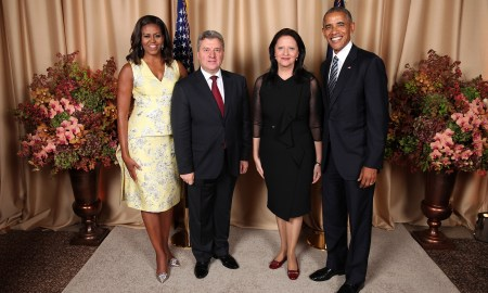 President Barack Obama and First Lady Michelle Obama greet His Excellency Gjorge Ivan, the President of the Republic of Macedonia, and Mrs. Maja Ivanova, during a reception for foreign heads of delegations to the United Nations General Assembly, at the Lotte New York Palace in New York, N.Y., Sept. 20, 2016. (Official White House Photo by Lawrence Jackson)  This photograph is provided by THE WHITE HOUSE as a courtesy and may be printed by the subject(s) in the photograph for personal use only. The photograph may not be manipulated in any way and may not otherwise be reproduced, disseminated or broadcast, without the written permission of the White House Photo Office. This photograph may not be used in any commercial or political materials, advertisements, emails, products, promotions that in any way suggests approval or endorsement of the President, the First Family, or the White House.