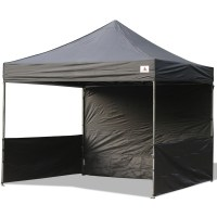 AbcCanopy 10x10 Deluxe Black Pop Up Canopy Trade Show Both ...