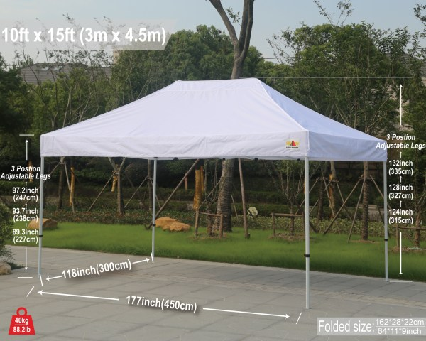 Abccanopy 10x15 Pro-40 White Pop Canopy With Roller Bag