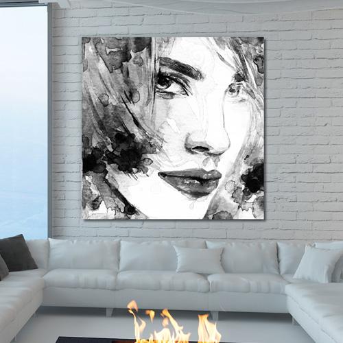 Tableau dco portrait femme noir et blanc