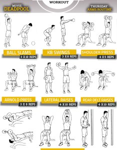 Ryan reynolds deadpool routine arms workout chart shoulders  triceps also pop workouts page of rh popworkouts