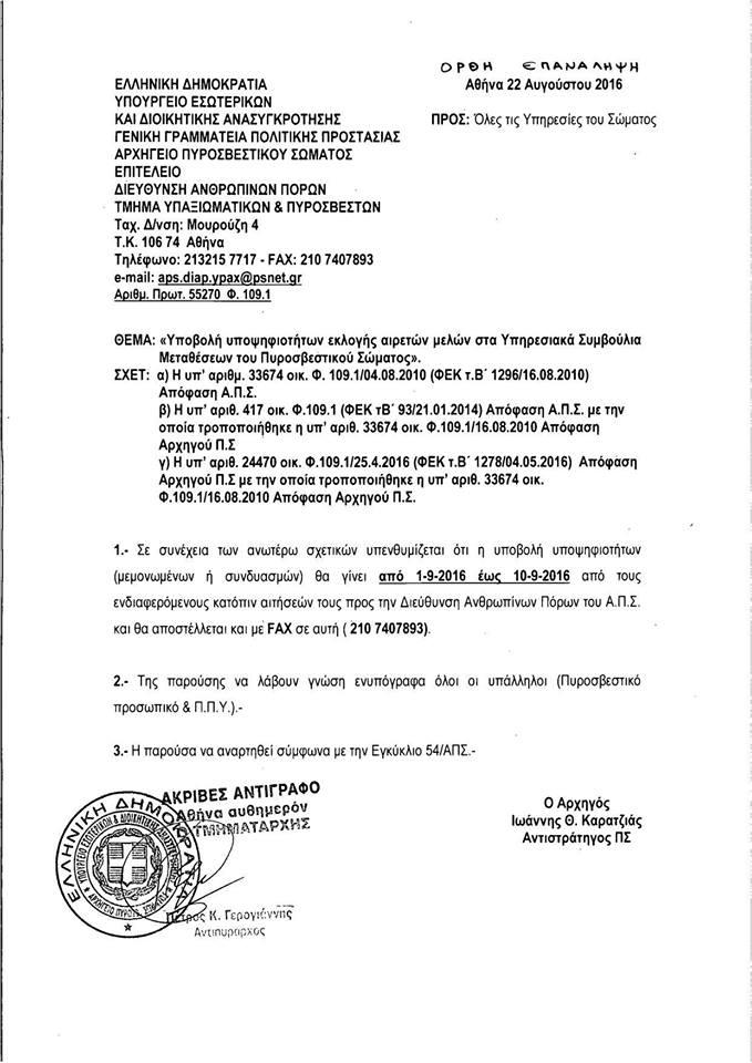 Συμβούλιο Μεταθέσεων 2016 υποψηφιότητες