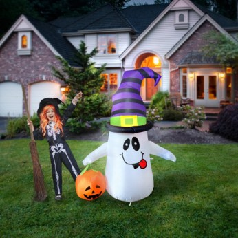 Image result for COMIN Halloween Inflatable Ghost J purple hat