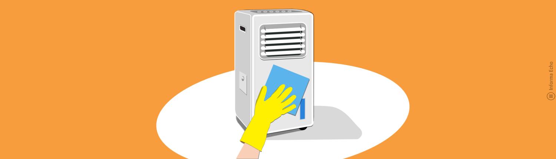 Čiščenje hladilca zraka / PorabimanjINFO / Ilustracija: Branko Baćović