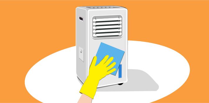Čiščenje hladilca zraka / Porabimanj INFO / Ilustracija: Branko Baćović