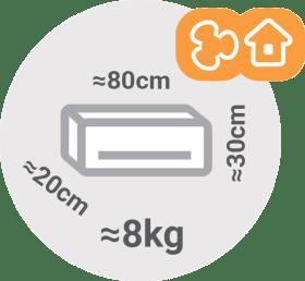 Split klimatske naprave - dimenzije notranje enote / PorabimanjINFO