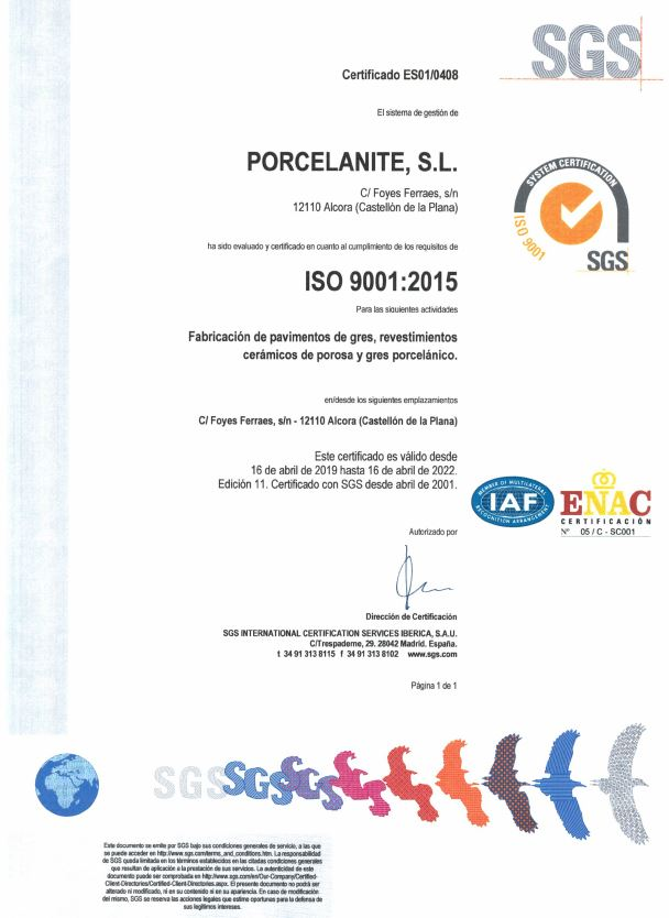 certificado porcelanite - Calidad total
