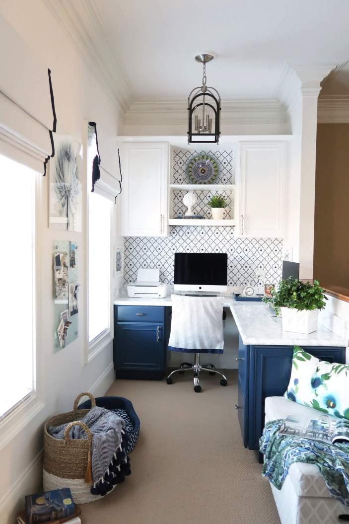 Final Reveal-Office Space-One Room Challenge-Porch Daydreamer-White and Navy