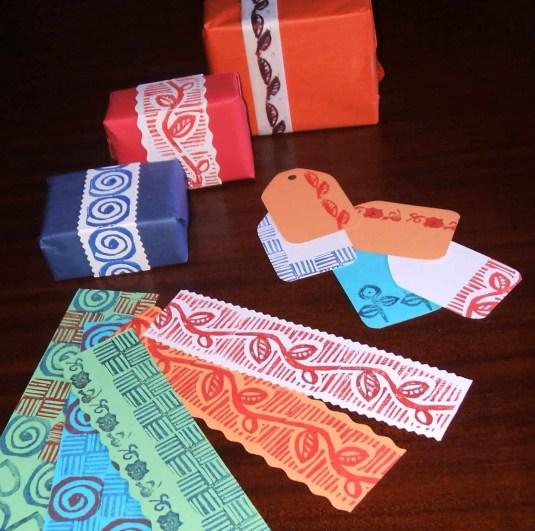 Estampando con sellos de goma
